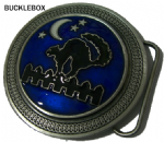 Witch's Cat and Moon Belt Buckle + display stand